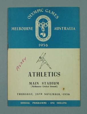 Programme - Athletics, Melbourne Cricket Ground, 1956 Olympics, 29 November