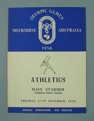 Programme - Athletics, Melbourne Cricket Ground, 1956 Olympics, 27 November