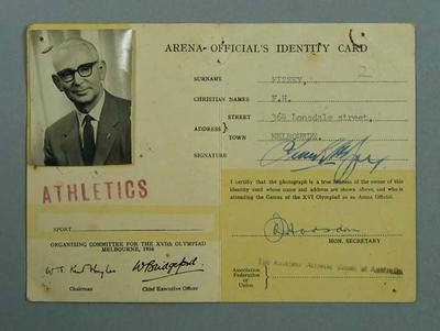 ID card No. 13447 issued to F.H. Pizzey, Athletics Official, 1956 Olympic Games