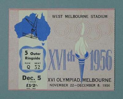 Ticket - Gymnastics at West Melbourne Stadium, 1956 Olympic Games, 5 December