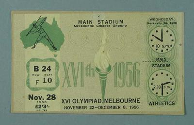 Ticket - Track & Field, Melbourne Cricket Ground, 1956 Olympic Games, 28 November