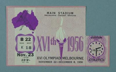 Ticket - Track & Field, Melbourne Cricket Ground , 1956 Olympic Games, 23 November