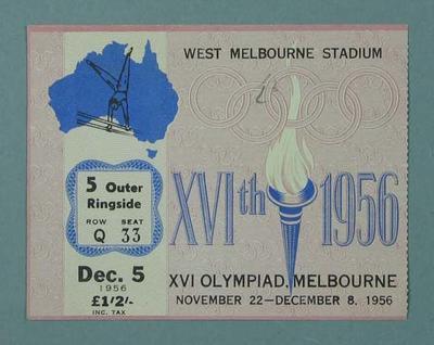 Ticket - Gymnastics, West Melbourne Stadium, 1956 Olympic Games, 5 December
