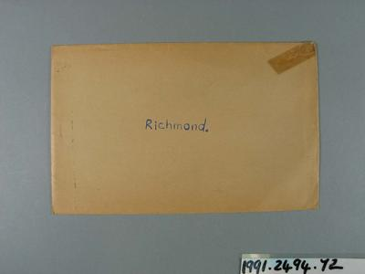 Envelope, used to store Richmond FC trade cards