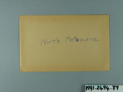 Envelope, used to store North Melbourne FC trade cards; Documents and books; 1991.2494.77