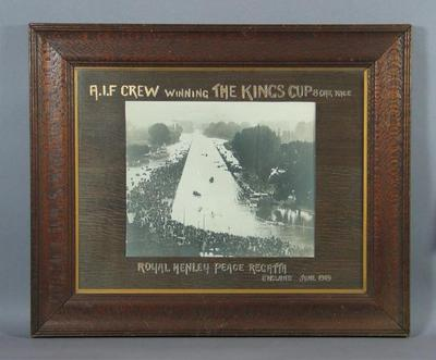 Framed photograph of AIF Crew winning the King's Cup at 1919 Henley Peace Regatta