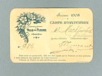 Invitation addressed to Donald Mackintosh, 1908