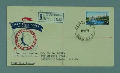 First day cover, 1956 Melbourne Olympic Games