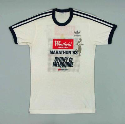 T-shirt worn by Cliff Young during Sydney-Melbourne Ultra Marathon, 1983