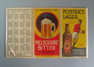1934 Football Fixtures card