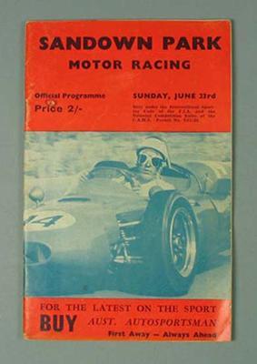 "Programme, ""Sandown Park Motor Racing"" 23 June"