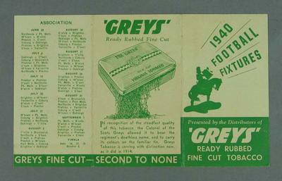 1940  Football Fixtures card