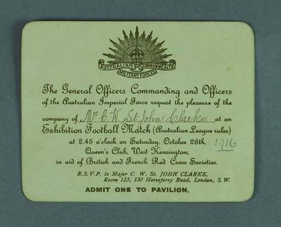 Invitation to Australian Football Exhibition Game, 28 Oct 1916
