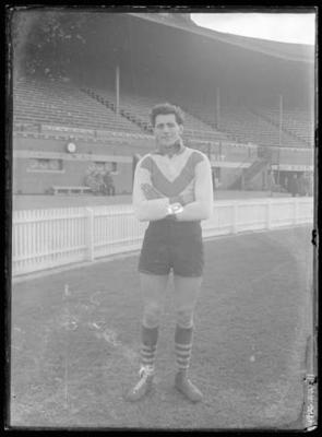 Glass negative, image of South Melbourne Football Club player
