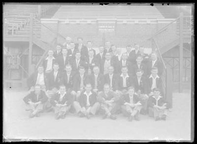 Glass negative, image of team in blazers