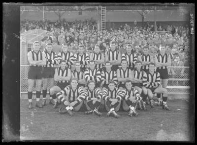 Glass negative, image of Collingwood Football Club team - 1957
