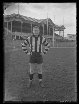 Glass negative, image of Collingwood Football Club player