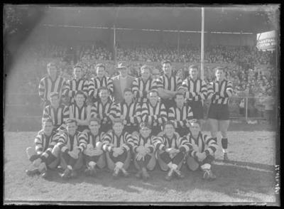 Glass negative, image of Collingwood Football Club team - 1956