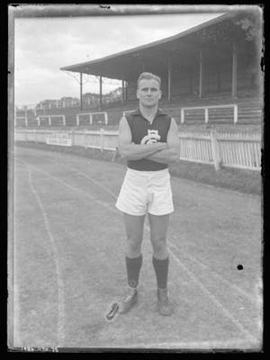 Glass negative, image of Carlton Football Club player - Laurie Kerr