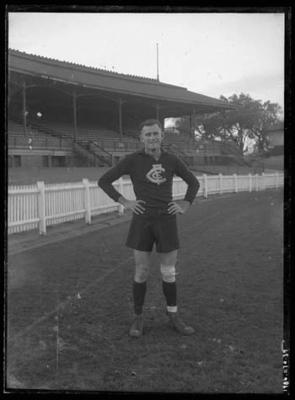 Glass negative, image of Carlton Footballer Club player