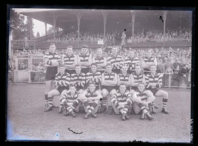 Glass negative, image of Geelong Football Club team - 1958