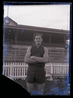 Glass negative, image of Fitzroy Football Club player