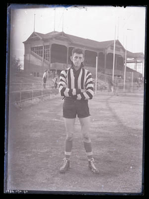 Glass negative, image of Collingwood Football Club player - Dave Little