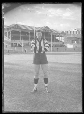 Glass negative, image of Collingwood Football Club player - Mick Twomey