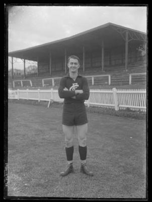 Glass negative, image of Carlton Football Club player