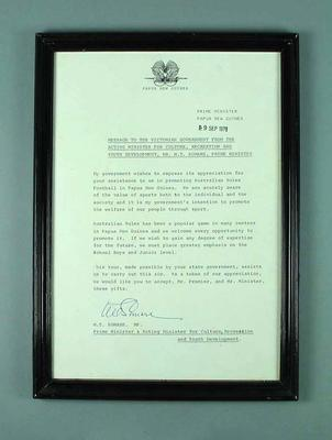 Framed letter from Papua New Guinea Prime Minister M.T. Somare dated 9 September 1978; Documents and books; Framed; 1987.1539