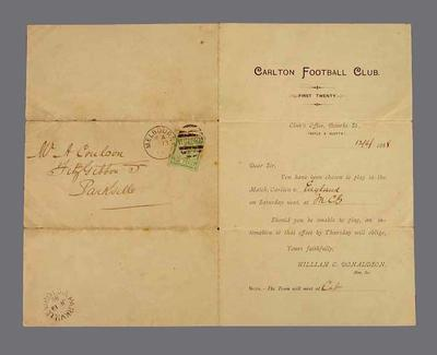 Selection notice, Carlton FC v England - MCG, June 1888; Documents and books; 1987.1846
