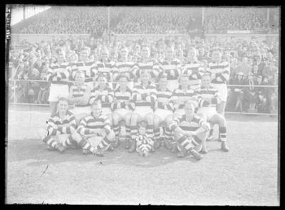 Glass negative, image of Geelong Football Club team - 1945