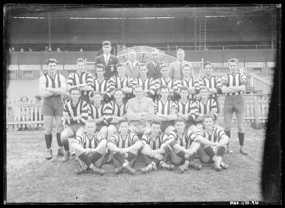 Glass negative, image of Collingwood Football Club Under 19s team