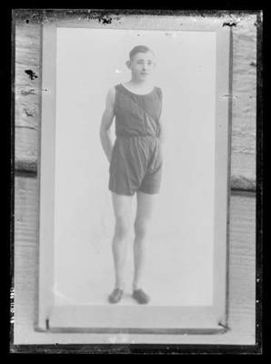Glass negative, image of unknown athlete