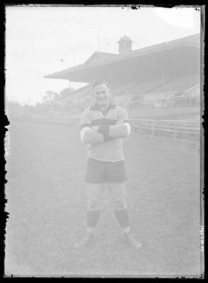 Glass negative, image of Footscray Football Club player - Charlie Sutton