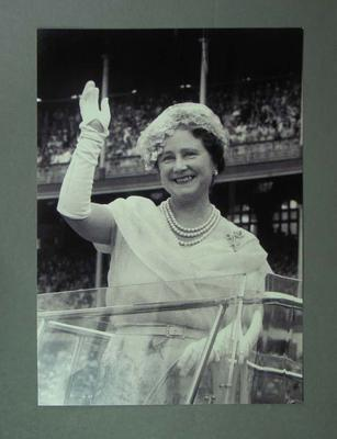 Photograph of HRH The Queen Mother at the MCG, School Children's Display 1958