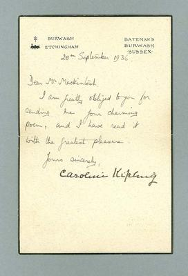 Letter to Donald Mackintosh from Caroline Kipling, 29 July 1936
