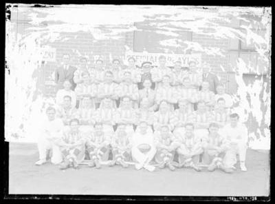 Glass negative, image of North Melbourne Football Club team