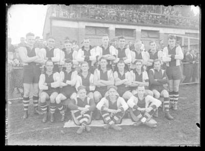 Glass negative, image of Preston Football Club team