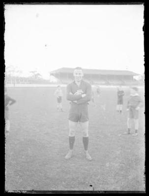 Glass negative, image of Carlton Football Club player