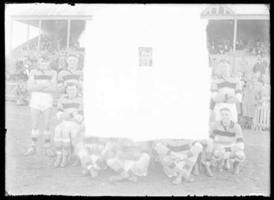 Glass negative, image of Footscray Football Club team