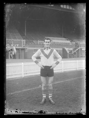 Glass negative, image of South Melbourne Football Club player - John Heriot