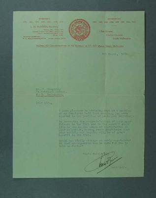 Letter addressed to S Campton regarding Sth Melb Cricket Club Committee, 9 Mar 1928
