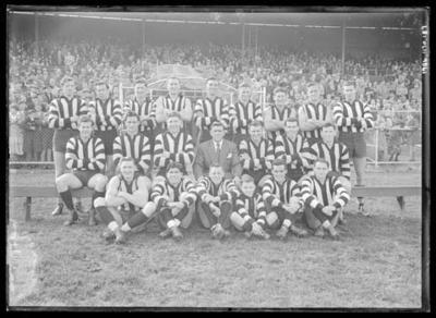 Glass negative, image of Collingwood Football Club team - 1952