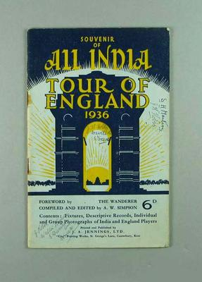 """Booklet, """"All India Cricket Tour of England 1936""""; Documents and books; 1988.1944.14"""
