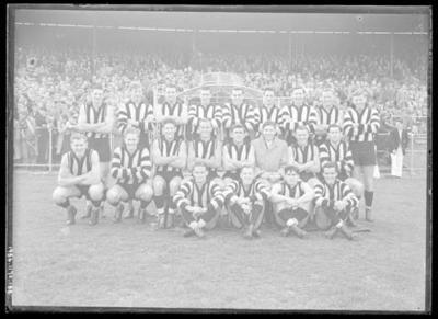 Glass negative, image of Collingwood Football Club team - 1953