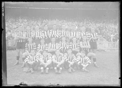 Glass negative, image of Collingwood Football Club team - 1951
