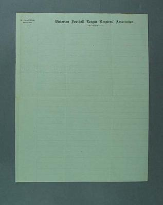 Unused Victorian Football League Umpires' Association letterhead, undated
