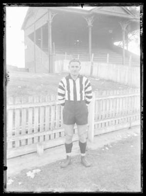 Glass negative, image of Collingwood Football Club player - Des Healey