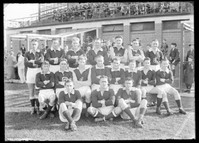 Glass negative, image of Brighton Football Club team